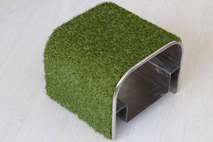 Травяной пуфик с полкой для обуви