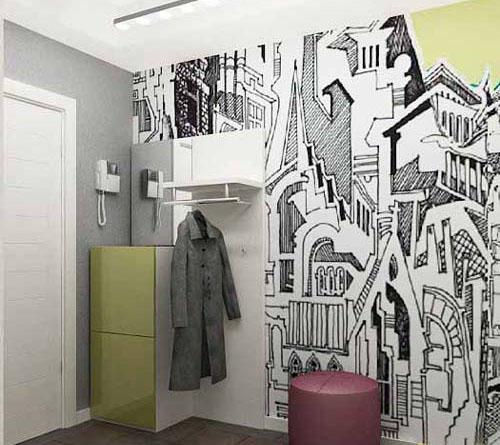 декорирование стен прихожей