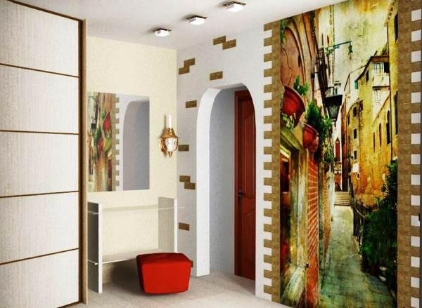 Декорирование стены фотообоями