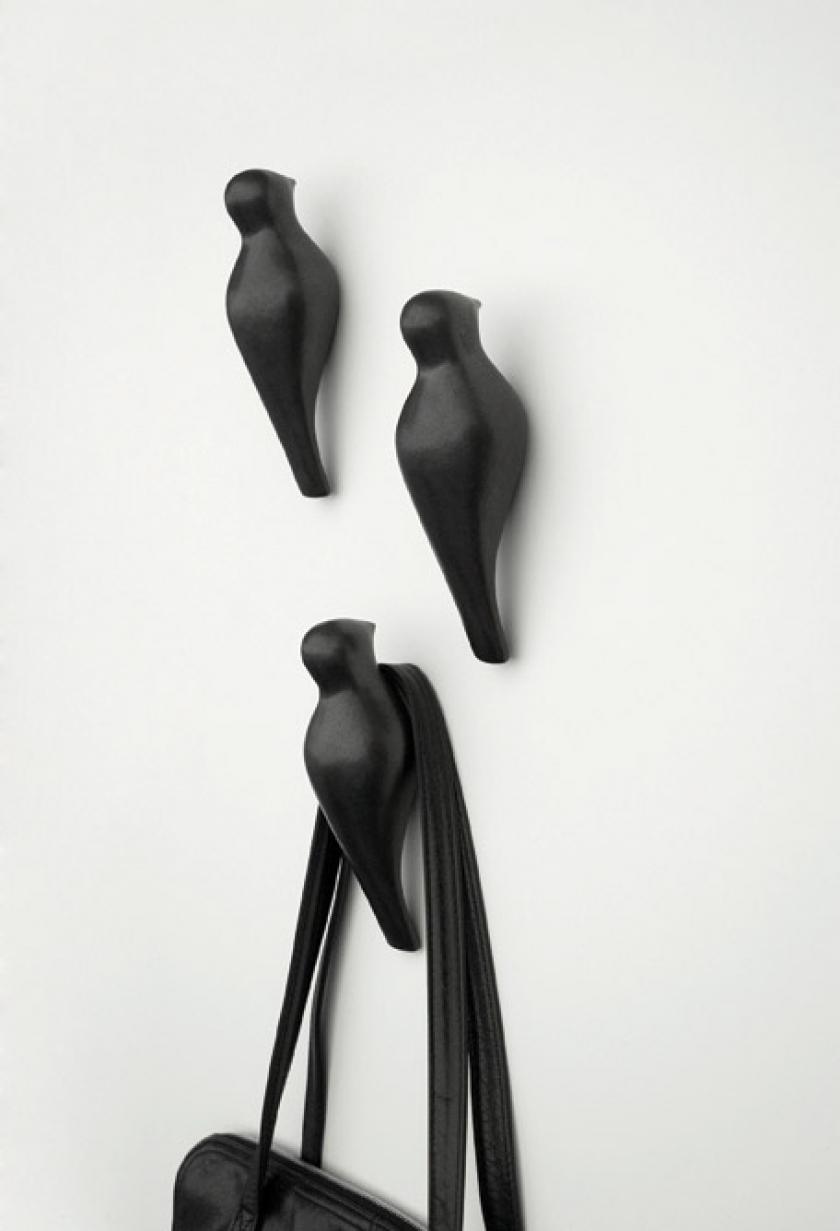 крючки для одежды черные птицы