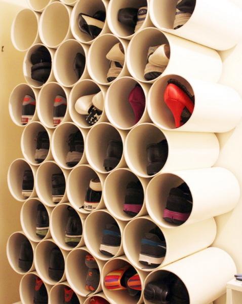 полка для обуви из пластиковых труб