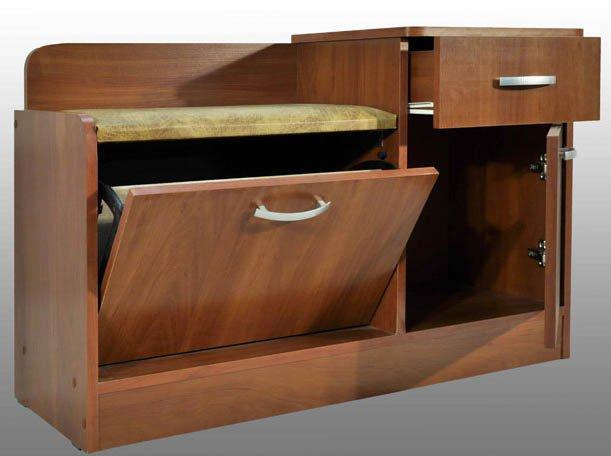 Банкетка с ящиками в коричневом цвете