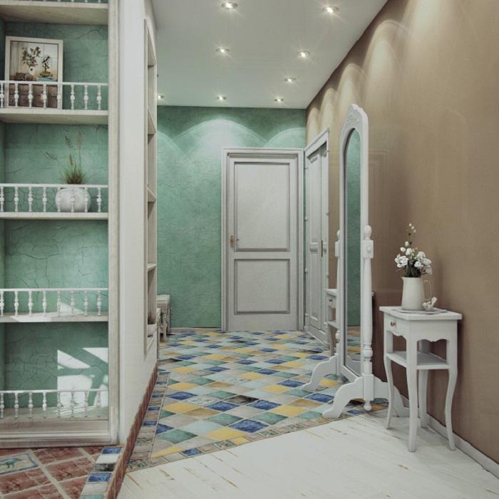 Иллюзия арок в прихожей в стиле прованс