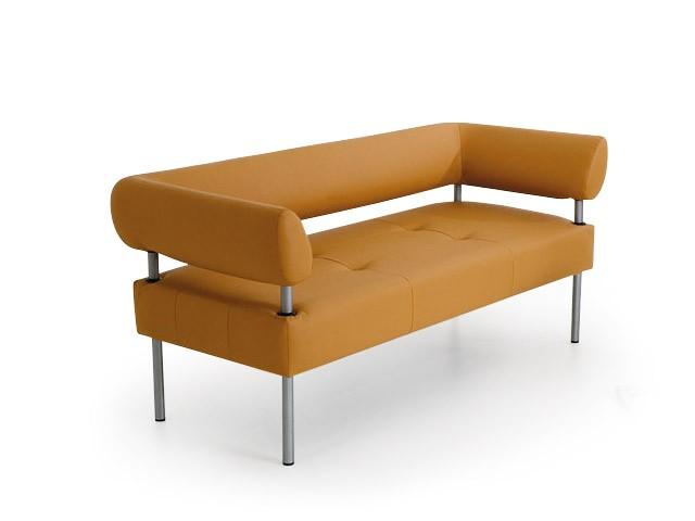 Металлический диван с мягкой обивкой