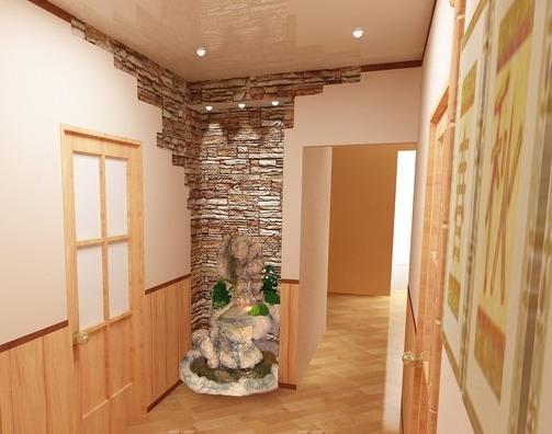 Оформление стен в небольшой прихожей