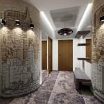 Оформление стен в прихожей дизайнерскими обоями