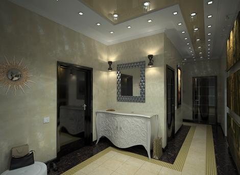 Светлый потолок в прихожей