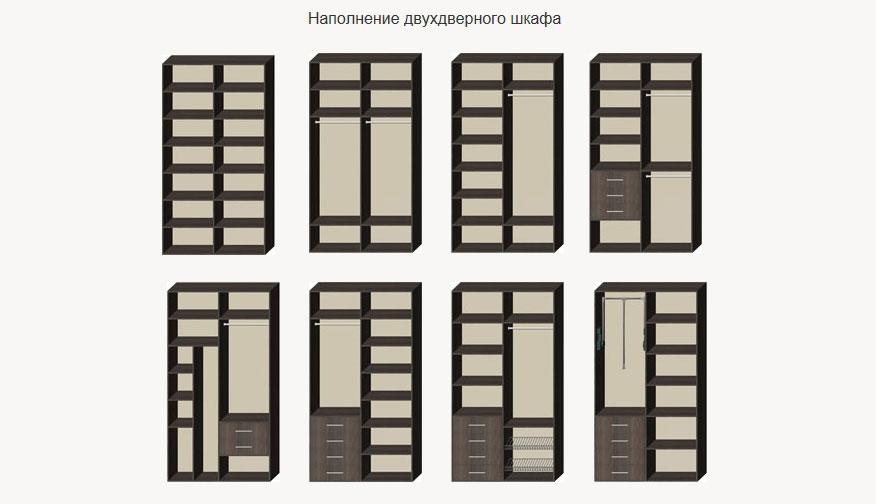 Варианты наполнения двухдверного шкафа