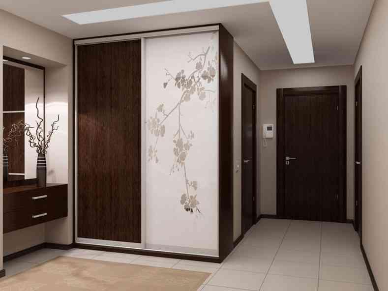 Дизайн встроенного шкафа в прихожей 7