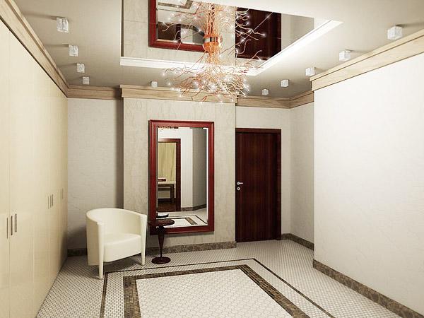 Зеркало на потолке в прихожей