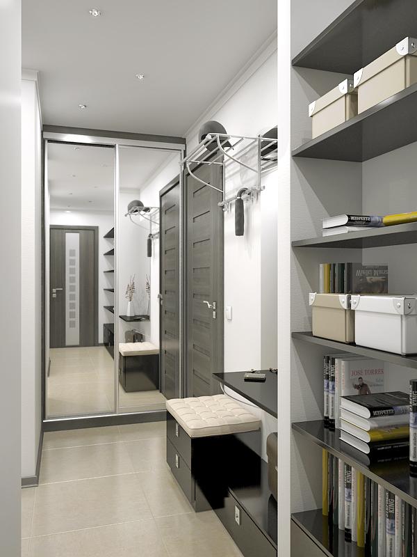 Бело серая прихожая в узкий коридор