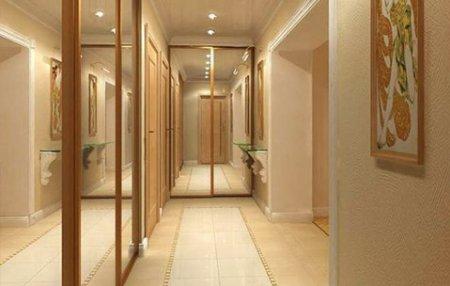Дизайн шкафов для длинного и узкого коридора