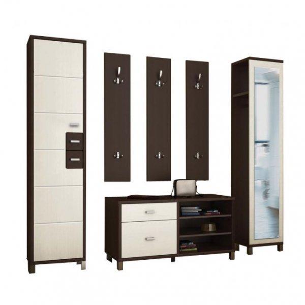 Корпусная модульная мебель прихожей в узкоий коридор