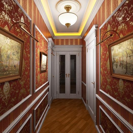 Оформление стен в узком коридоре