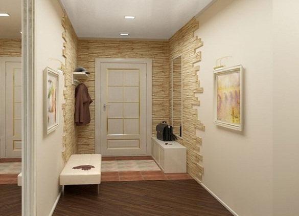 Отделка стен в прихожей декоративным камнем