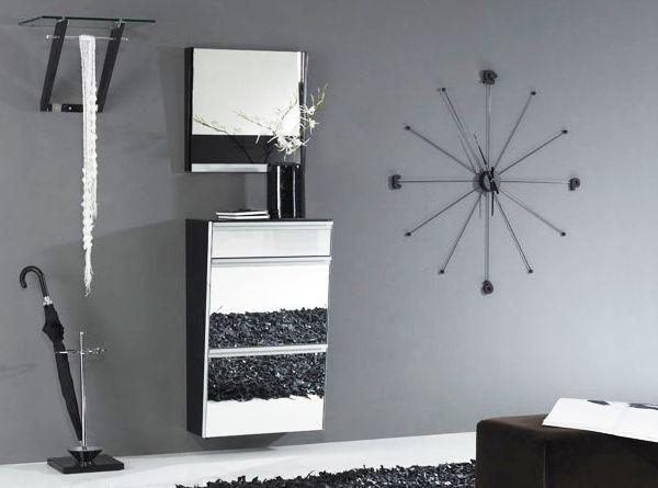 Подвесной зеркальный обувной шкаф