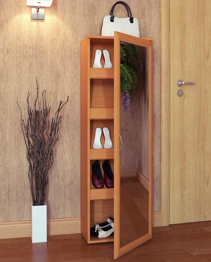 Шкаф для обуви узкий с зеркалом
