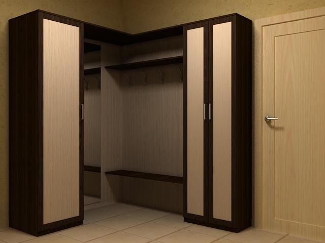 Угловая прихожая с двумя распашными шкафами