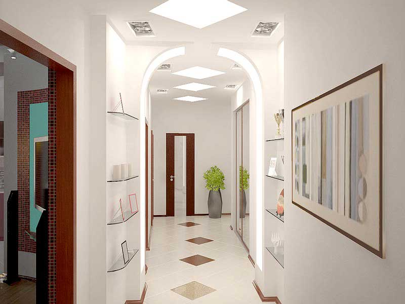 Узкий коридор нужно грамотно подобрать освещение