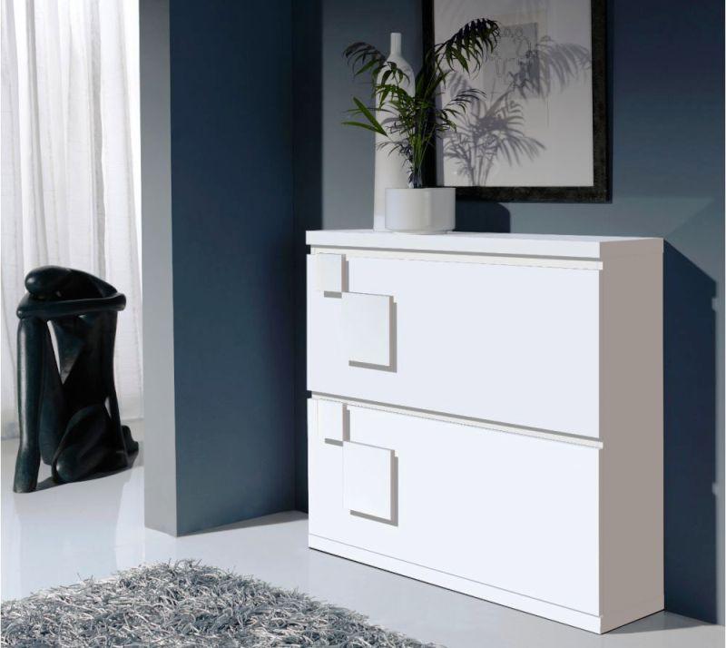 Узкий шкаф для обуви в белом цвете