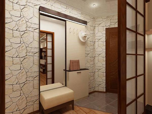 Интерьер с декоративным камнем для прихожей в хрущевке