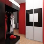 Оформление прихожей в стиле хай-тек в красном цвете и черными деталями