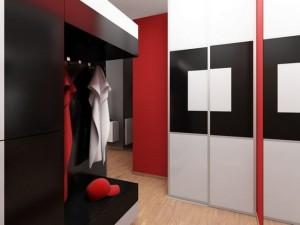 Современный стиль хай-тек и красная прихожая
