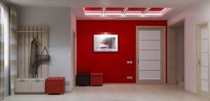 Красная прихожая с белой дверью стиля модерн