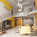 Большая прихожая в двухэтажном доме в желтом цвете