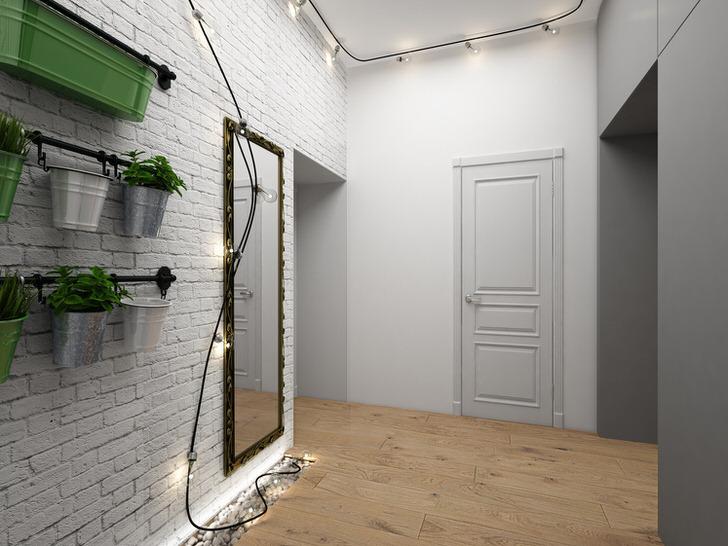 Белоснежный интерьер прихожей с большим зеркалом в стиле лофт