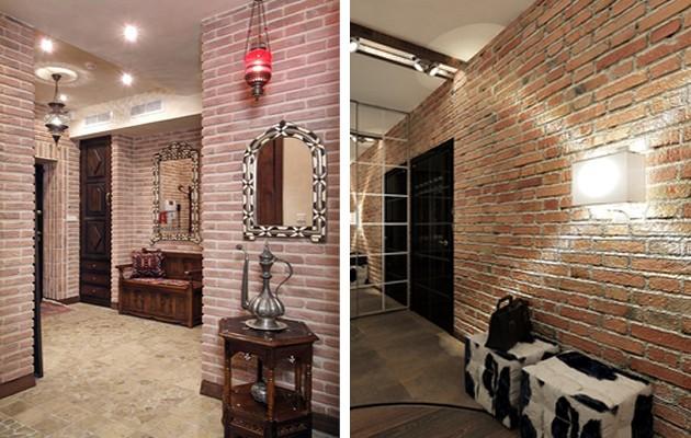 Кладка кирпичных стен в прихожей в разном цвете для стиля лофт