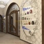 Оформление стены цветными деталями в стиле модерн