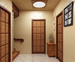 Имитация плетной двери для восточного японского стиля в прихожей