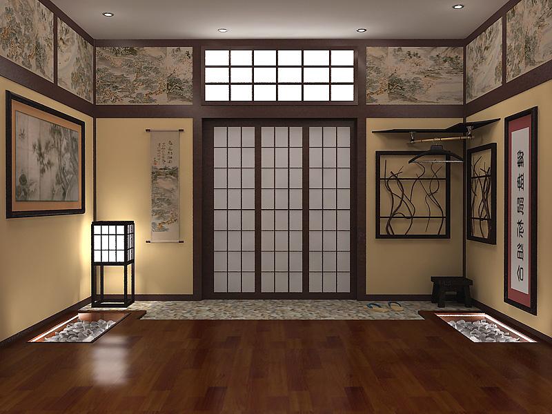 Уютная прихожая с мягкой подсветкой в японском стиле