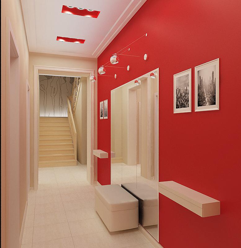 Насыщенный красный цвет в оформлении стены в прихожей