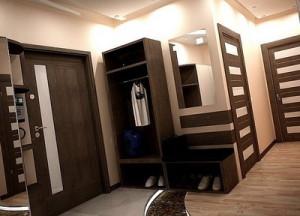 Темная коричневая мебель в прихожей