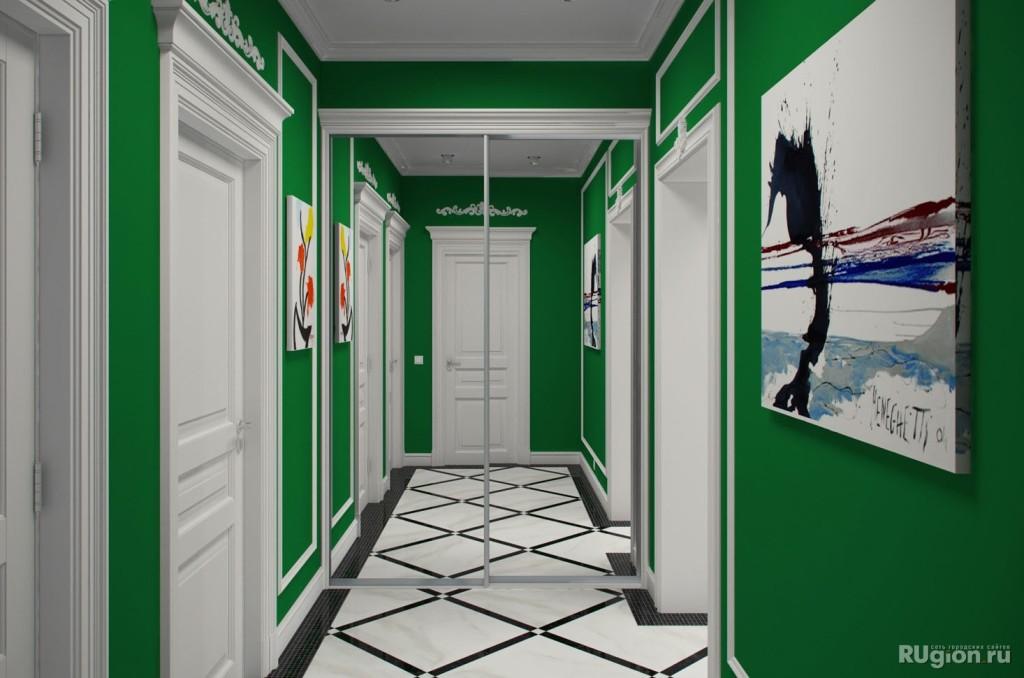 Темно зеленая отедкла прихожей с белыми деталями