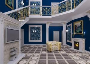 Просторная синяя прихожая в двухэтажном доме