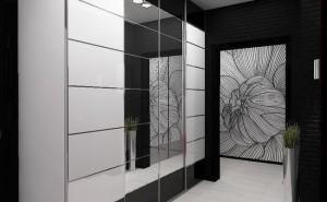 Прихожая с большим зеркалом в черном цвете