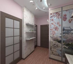 Изображение сакуры в японском интерьере прихожей
