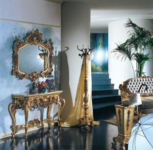 Изящная позолота для мебели в прихожую в стиле барокко