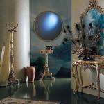 Голубые оттенки в создании напрвления барокко в прихожей