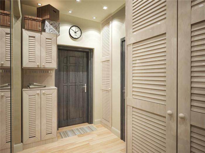 Практичность шкафов для прихожей в скандинавсокм дизайнерском стиле