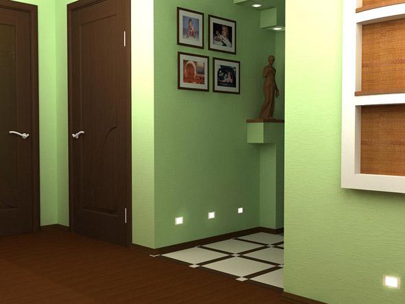Однотонный зеленый цвет просторной прихожей