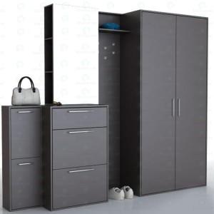 Матовая удобная мебель для черной прихожей