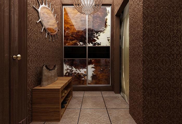 Прихожая в коричневых оттенках с оригинальным шкафом