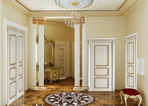 Аккуратность прихожей и элегантность белых тонов в стиле барокко