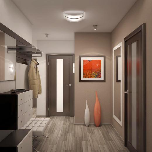 Светлый коричневый цвет для стиля хай-тек с оранжевыми акцентами в прихожей