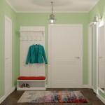 Белая мебель в скандинавском стиле с цветной отделкой в прихожей