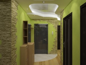 Создание натурального дизайна в прихожей с зелеными стенами